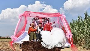 Turgutlu'da İş Makinası Gelin Arabası Oldu