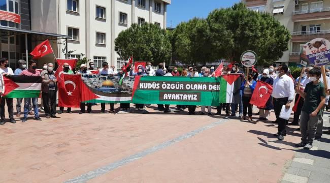 Turgutlu'da İsrail'in Filistin Halkına Yönelik Saldırıları Protesto Edildi