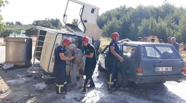 Manisa'da Süt Kamyonu İle Otomobil Çarpıştı: 1 Yaralı