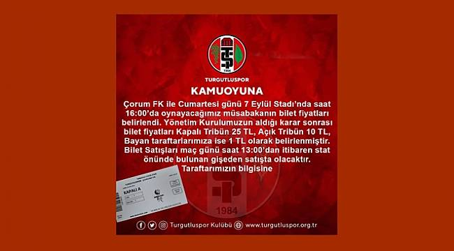 Turgutluspor'da Çorum FK Maçının Bilet Fiyatları Belli Oldu